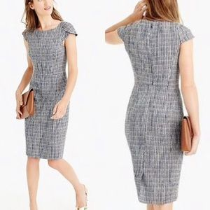 J. Crew Petal Sleeve Blue Fleck Tweed Sheath Dress